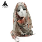 ND364 NEW tassel flower print hijab scarf soft design women muslim floral pattern scarves and shawl fashion foulard