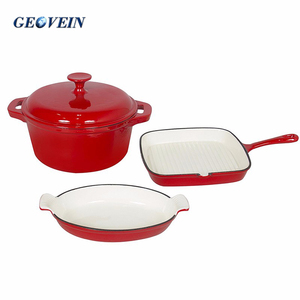 induction cooker premium 3 pcs enamel cast iron cookware sets casserole with grill pan