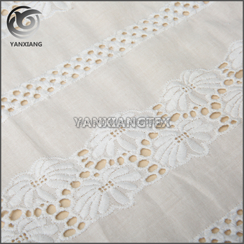 Latest white flower eyelet embroidery cotton fabric