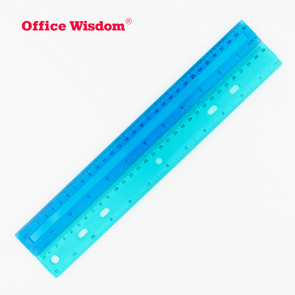 30cm scale plastic ruler 12inch colorful straight ruler Transparent colored different design DIY drawing plastic ruler