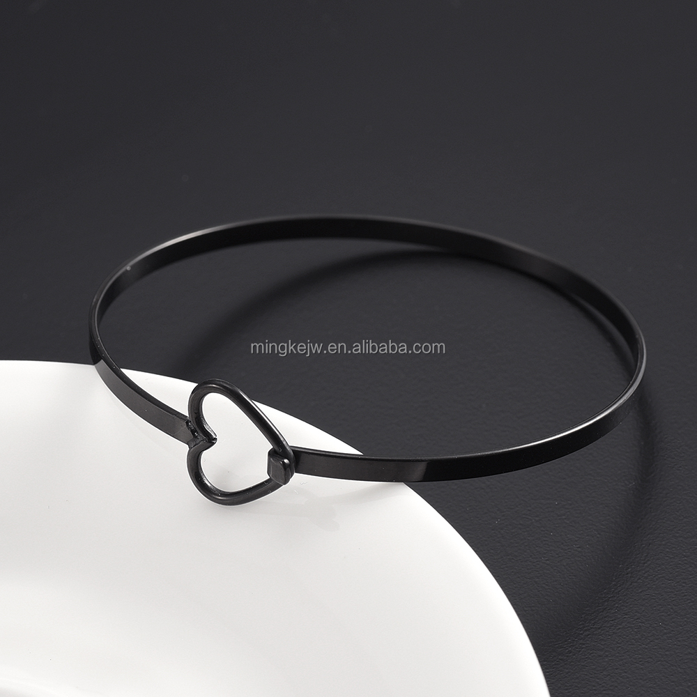 IJB0288 Cute Heart Inlay Silver, Gold, Pink, Black Plating Wire Expandable Bangle Adjustable Bracelet