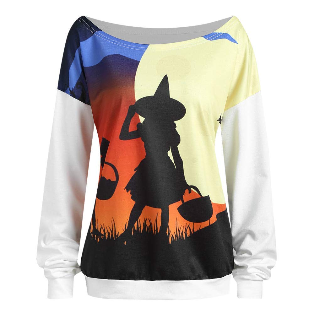 POTO Women Halloween Sweatshirts,Pumpkin Devil Print Shirts Long Sleeve Pullover Slouchy T Shirt Tops Blouse