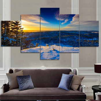 5 Piece Sunset Seaview Boat Canvas Painting Large Print Art For Living Room Wall Home
