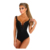 Women Sexy Solid Embroidery Bodysuit Lady Crochet Plunging V-Neck Spaghetti Strap Open Crotch Lingerie Zipper Bodysuit
