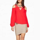 OEM woman gender chiffon long sleeve blouse ladies red tops