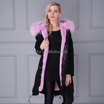 46d03d2a414 Unisex real Taro purple faux fur lined parka real raccoon fur collar jacket  with soft cotton