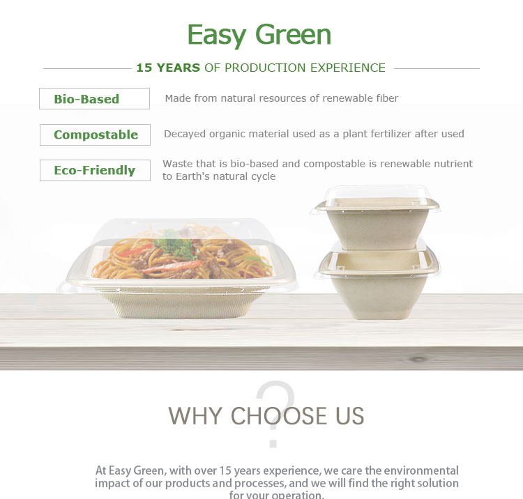 Easy Green disposable 16oz paper dry fruit pulp tray with lid and compartments