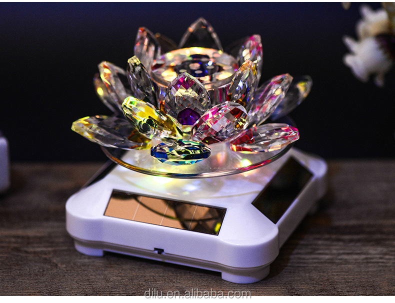Crystal Glass Decorative Lotus Flower Shape for Car Decorative Gifts