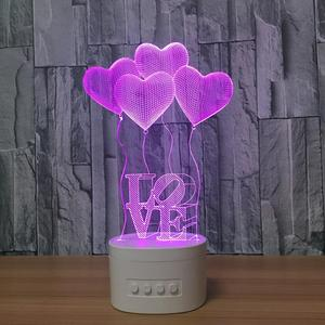 Bluetooth speaker base 3d vision night light LED 5 colors 2600mAn rechargeable acrylic table lamp