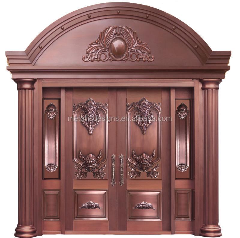 Modern House Exterior Door Double Tempered Glass Pure Copper Door