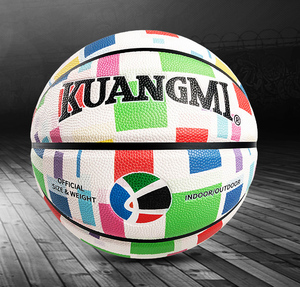 custom printed coloful pu moisture absorbing leather basketball in bulk wholesale