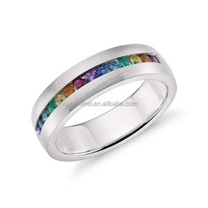 18K white gold rainbow pride jewelry cubic zirconia men gay ring