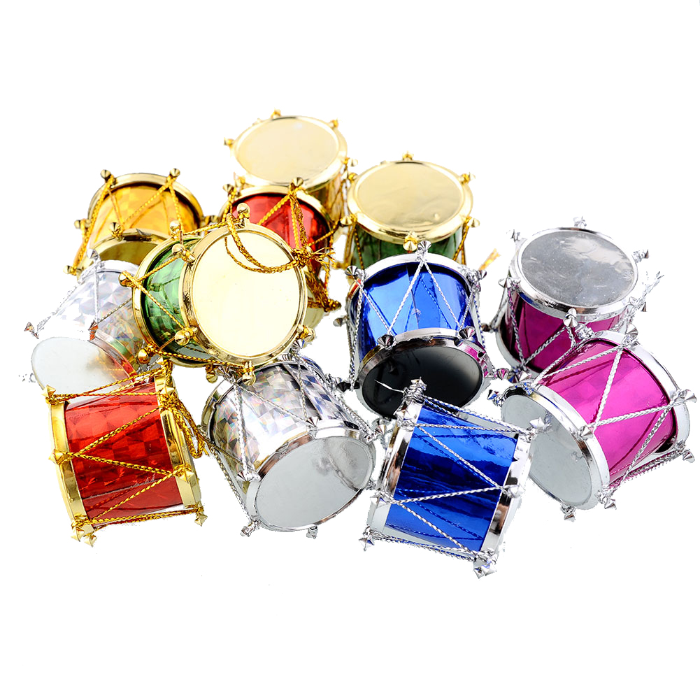 12X Colorful Small Drum Pendant Xmas Party Home Christmas Tree Hanging Decor Decoration Gift Ornaments