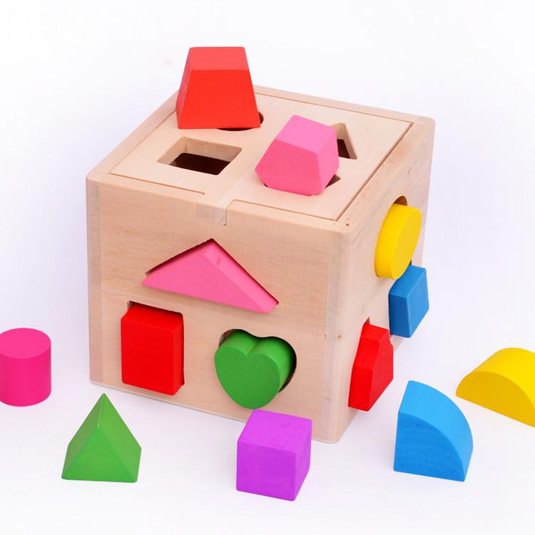 купить оптом детские игрушки 13 объемных фигур форма сортировка куба обучающие деревянные геометрические строительные блоки прочная деревянная