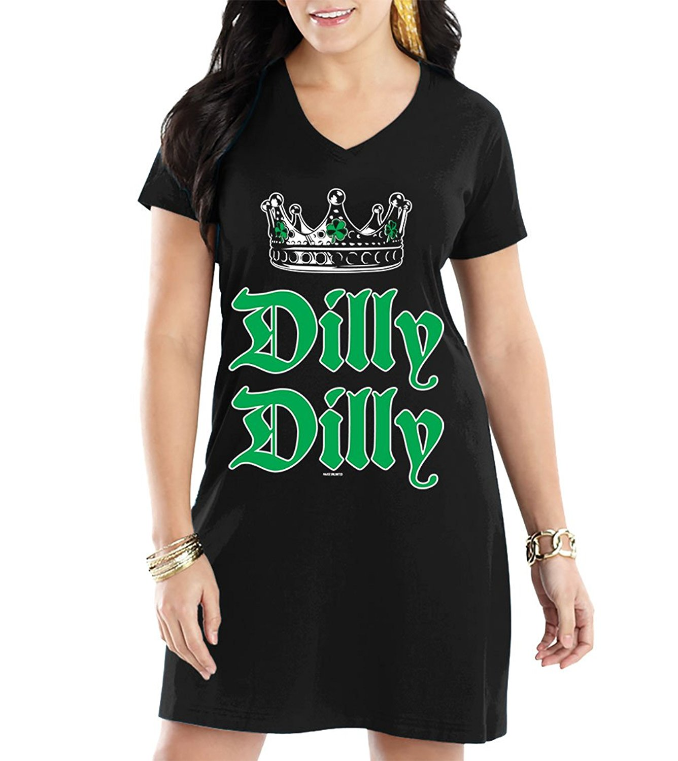 HAASE UNLIMITED Women's Dilly Dilly ST. Patricks Day V-Neck Nightshirt
