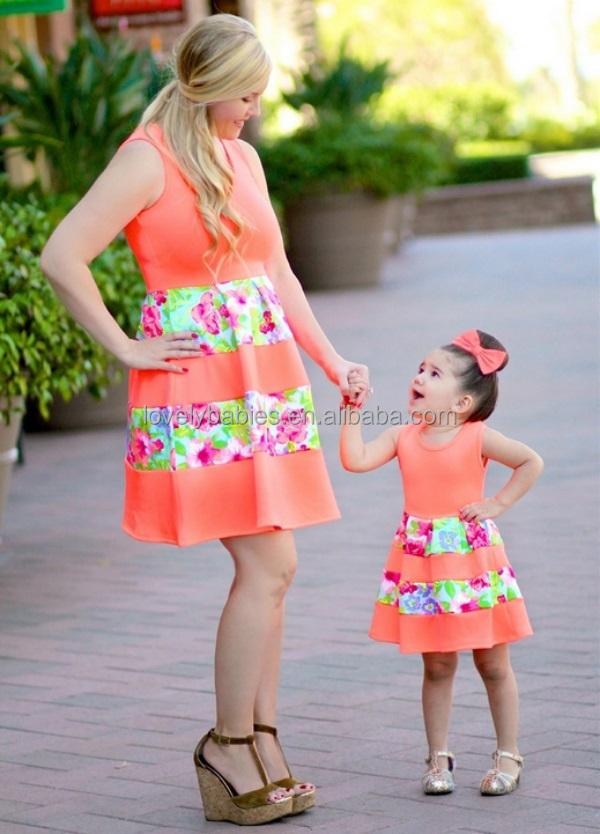 De Moda De Diseno Personalizado De La Madre Y La Hija Vestido De