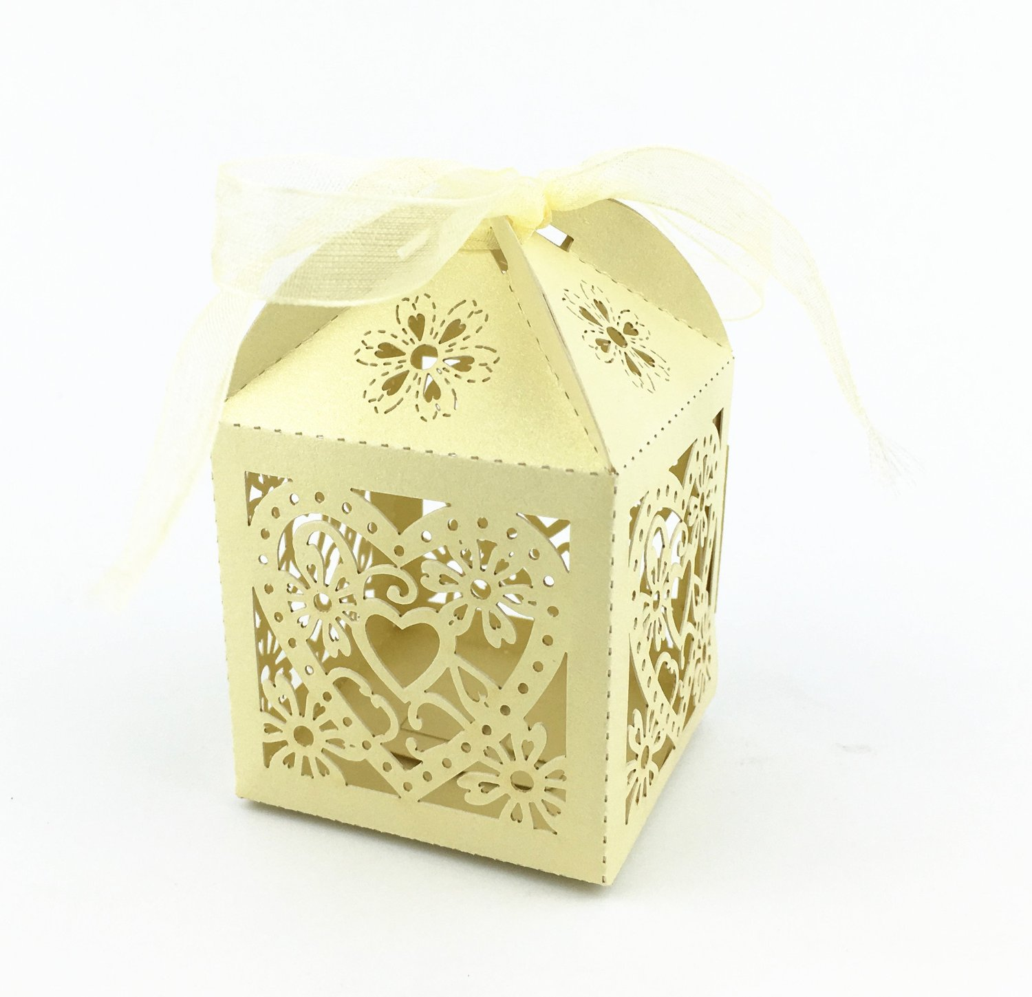 Yansanido candy wedding favor boxes with Ribbons Wedding Favors Candy Boxes Hollow Out Love Heart Laser Cut Paper Box Wedding Party Favor, 50 Count ( love white gold)