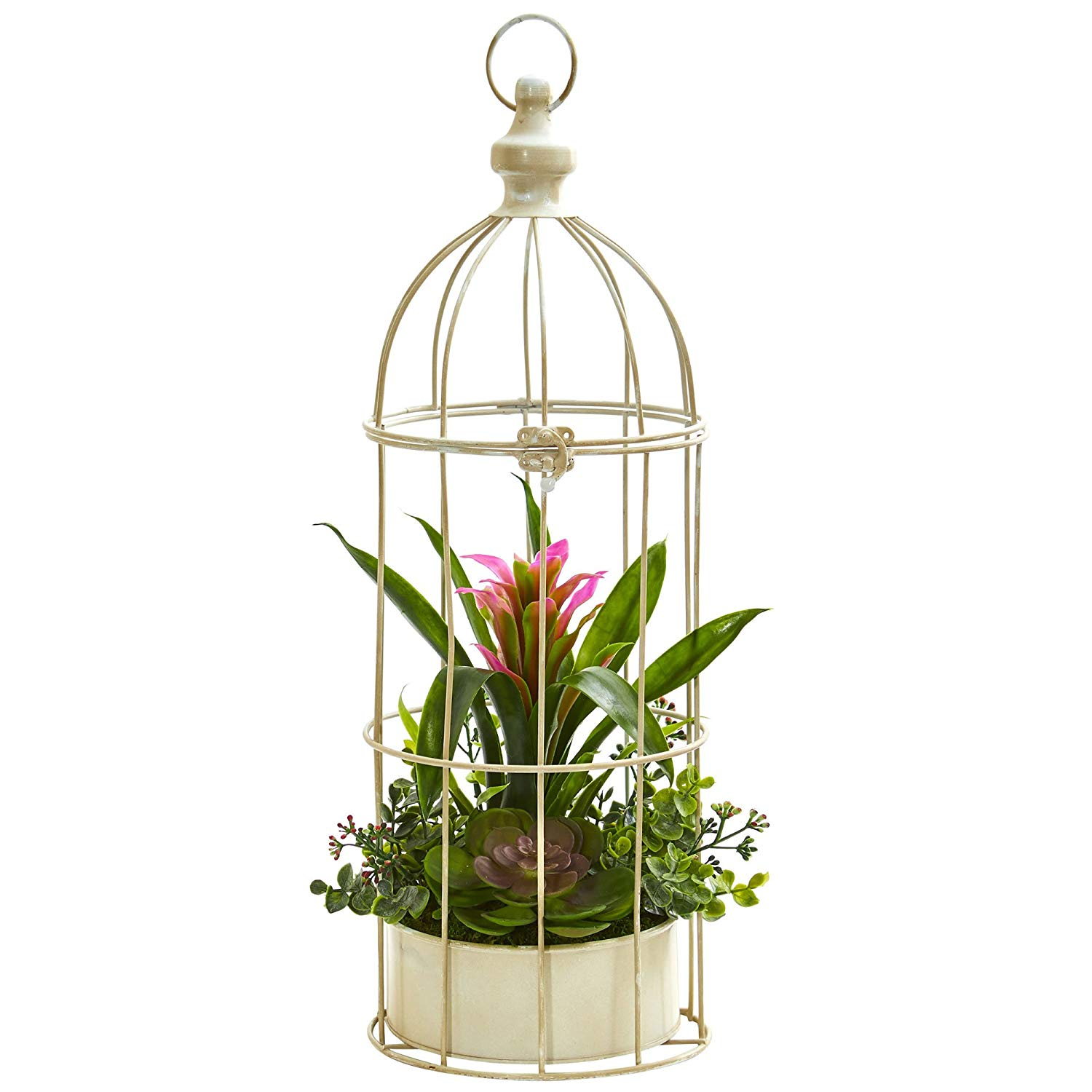 Nearly Natural 1678-PP 19 in. Bromeliad & Succulent Artificial Bird Cage Silk Arrangements, Purple