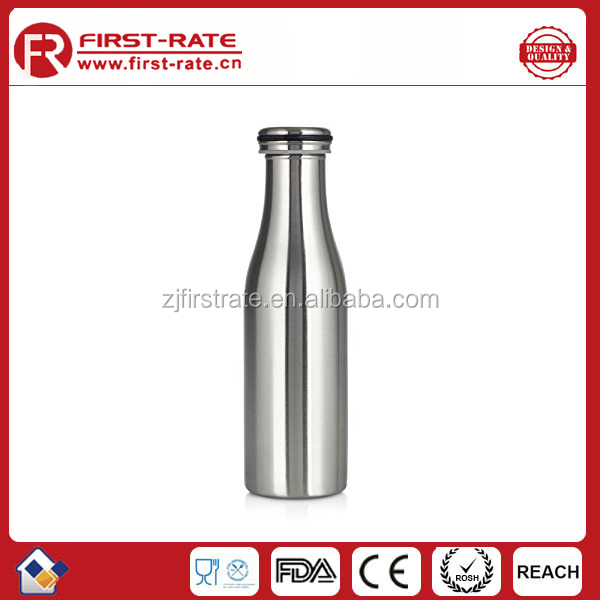 Stainless Steel Vacuum Insulated Water Bottle,18oz/500ml, Cool Milk Jar Design