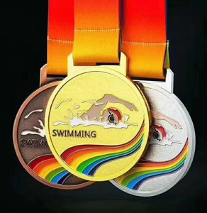 Wholesale custom high quality 3d die cast swimming medals and trophies with neck ribbons