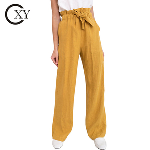 Customize Womens Trousers Elegant High Waist Wide Leg Linen Pants With Pockets