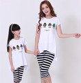 Fashion Matching Mother Daughter Clothes Family Look Four Little Men Top Pant Clothes Parent child Outfit