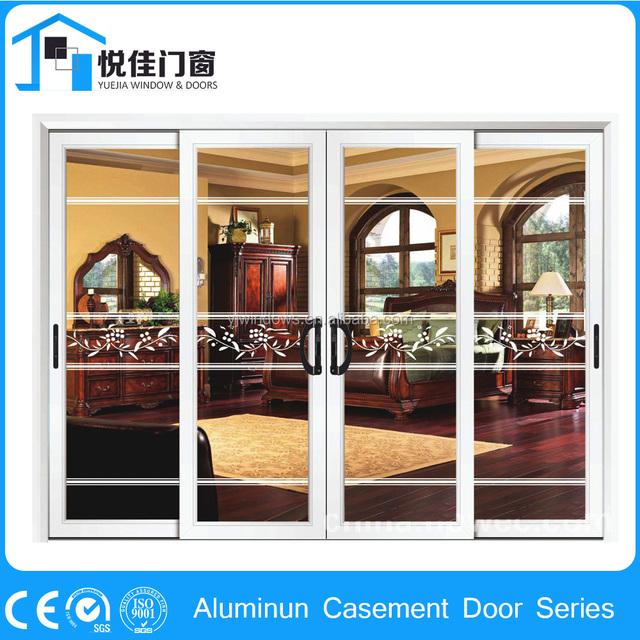 High Quality Front Door Parts Aluminum Casement Door Double Tempered Glass