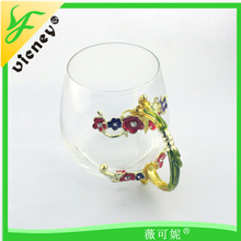 New arrival Factory Supplies Colored Enamel Vintage Glass Flower Tea Mug Christmas Gift Cheap Crystal Glass Cup