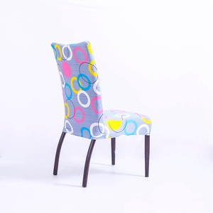 factory price printing elastic circle stripe dining chair cover for dining table