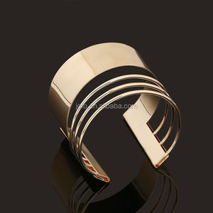 Punk Fashion Cheap Price Women's Cuff Bangle Africa Style Gold Plated Steel Bangle