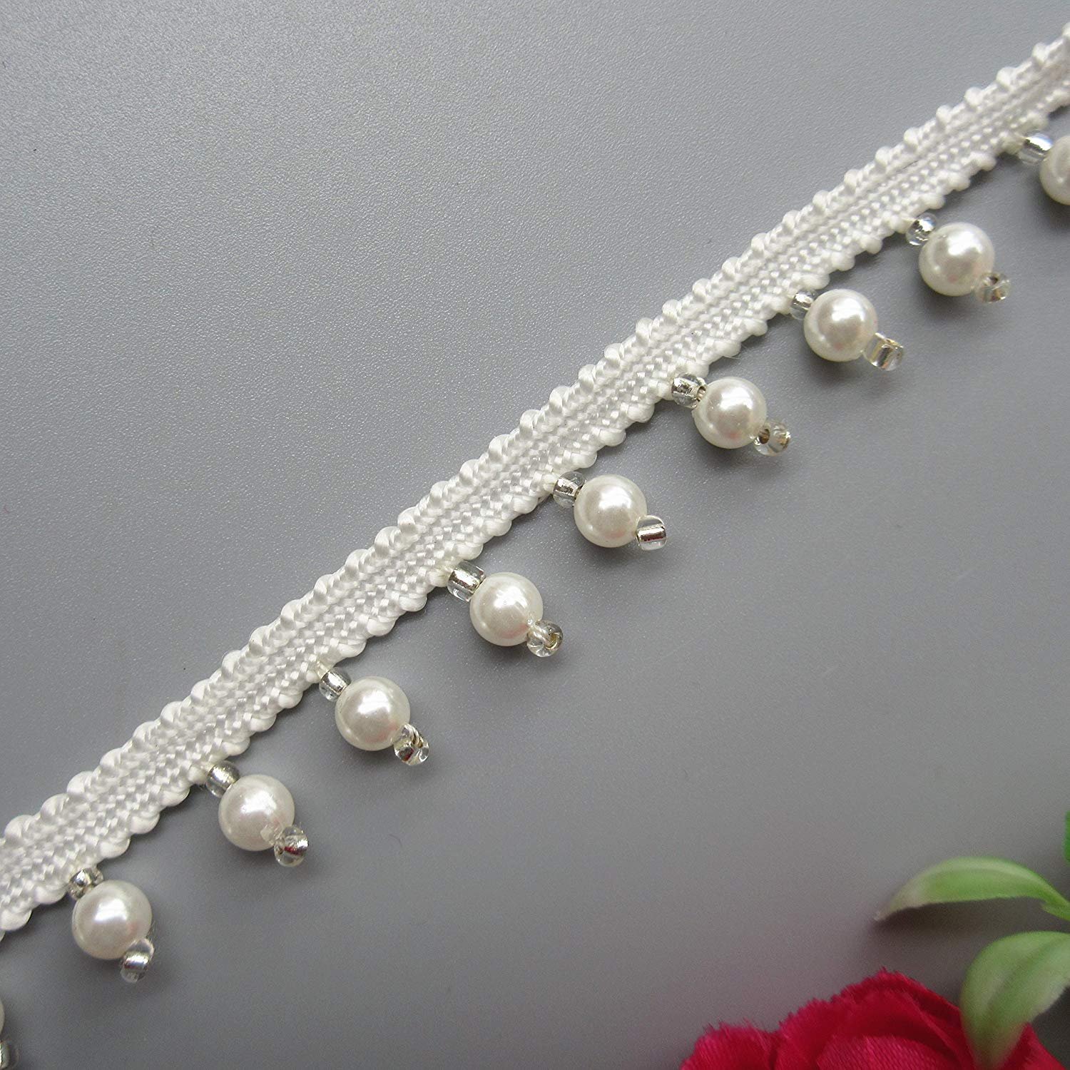 1 Yard Pearl Beaded Flower Lace Edge Trim Ribbon 3.7 cm Width Vintage Style White Trimmings Edging Fabric Embroidered Applique Sewing Craft Wedding Bridal Dress Party Clothes Hat Headband Decoration