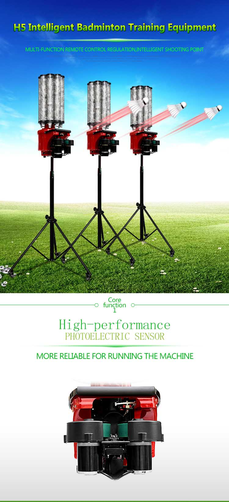 new arrival H5 badminton shuttlecock shooting machine ball feeder equipment for sale from factory H5