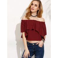 Spring high quality women clothing & lady off shoulder blouse & top