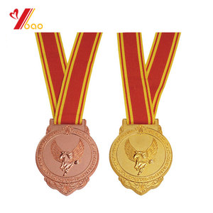 Customized cheap award metal medals with ribbon for sports