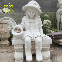 indoors Garden decorate Finesse marble stone angel Boy Little Girl statues