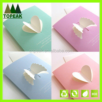 Lovely Creative 3d Wings Of Love Sweet Greeting Card Message Card