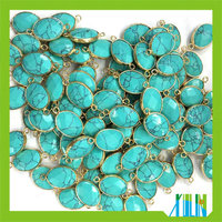 Faced Oval Shape Turquoise Stone Bezel Connector Gemstone Bead Charm Jewelry