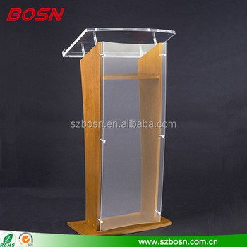 Floor Standing Clear Acrylic Plastic Podium Lectern, Plexiglass Church Pulpit