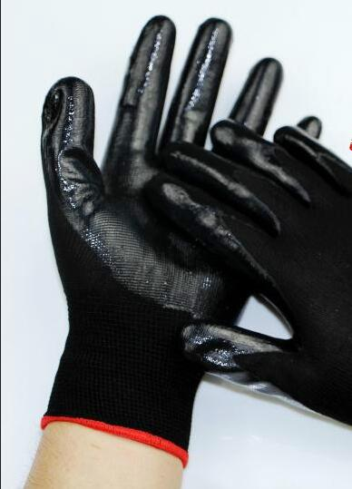 13G Polyester Gloves Nitrile Coated Gloves Smooth Finish safety glove