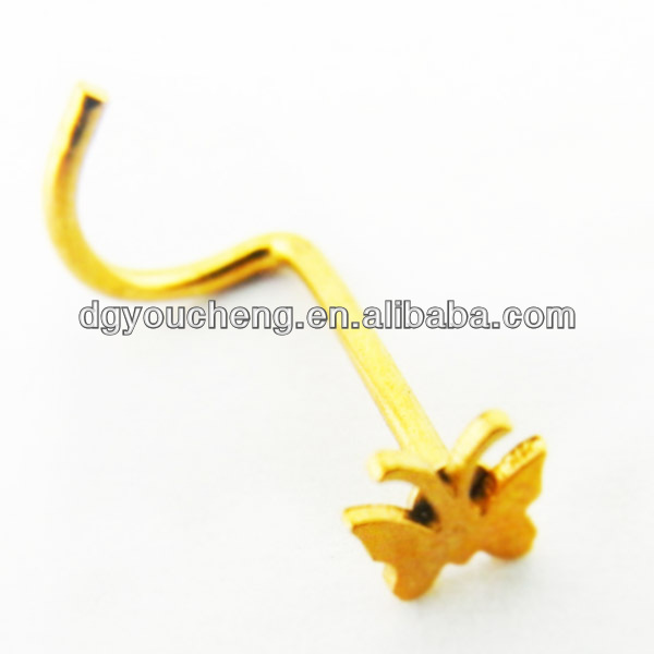 316Lstainless steel gold plated attractive designs of nose rings