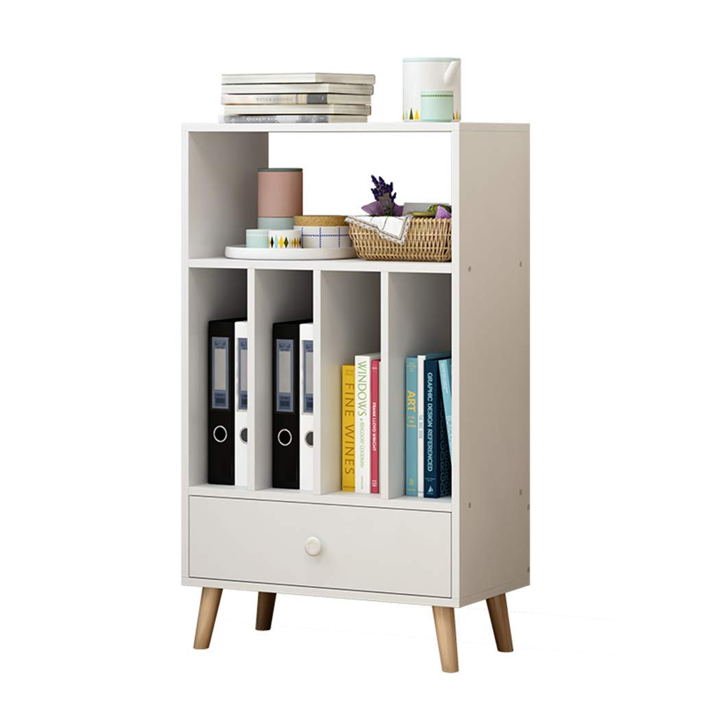 Xing Hua Shop Bookshelf Home Floor Simple Rack Student Bookcase Multi-Layer Storage Cabinet Living Room Shelf File Cabinet Multi-Grid Storage (Color : White, Size : 553095cm)
