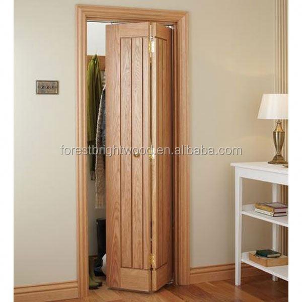 Bifold puerta de madera tallada con ranuras puertas - Puerta plegable madera ...