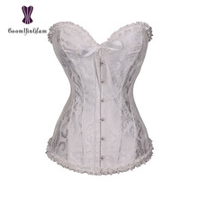 b07edf4ed2 Black And White Color Sexy Women Lingerie Lace Up Corselet Steel Boned  Ovetbust Corset Pleated Corsets