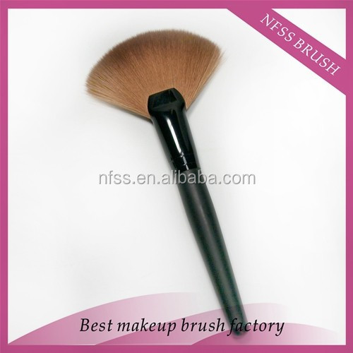 wholesale free sample mini synthetic /nylon hair fan makeup brush ,fan powder brush ,face fan cosmetic brush