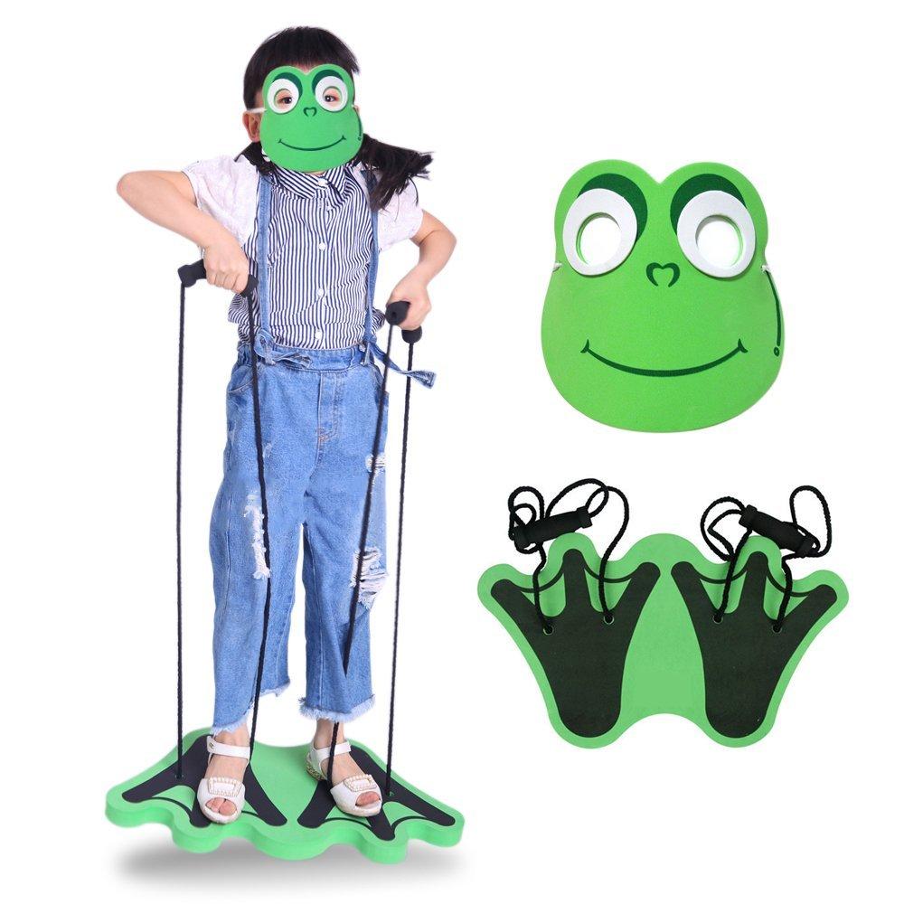 B.LeekS Foam Jumper Set for Children, Frog Feet Pogo Sticks with Frog Cartoon Mask for Kids, Bounce Tool Kindergarten Game Training Equipment