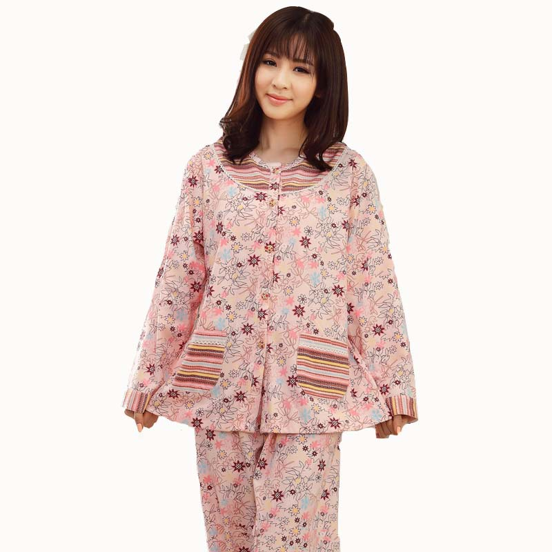 182555ea0e55 Get Quotations · 2015 plus-size Pijama Sets Spring Autumn Women Long Sleeve Sleepwear  print cotton women pajamas