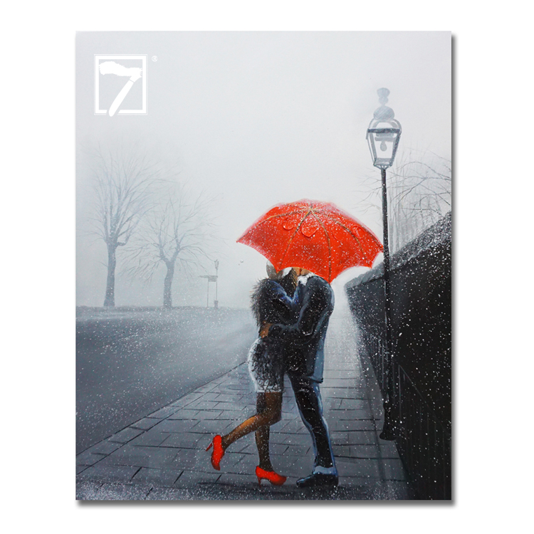 Hot Sale Romantic Paintings A Kiss in the Snow Red Umbrella Oil Painting Handpaint for Wall Decor