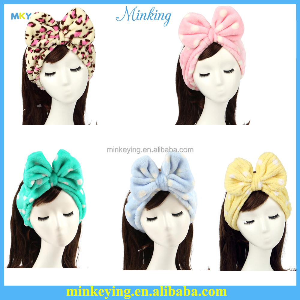 Women Girl Bow Knot Head Band accessories Bow tie headband forFace Wash Spa Bath gift