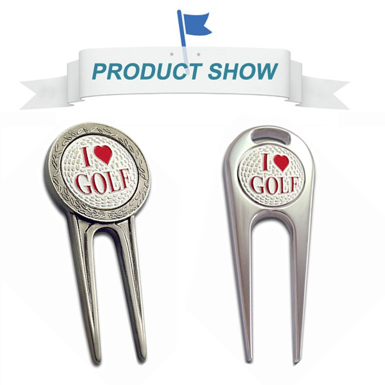 Personalized golf club repair tools metal divot repair golf ball pick up tool