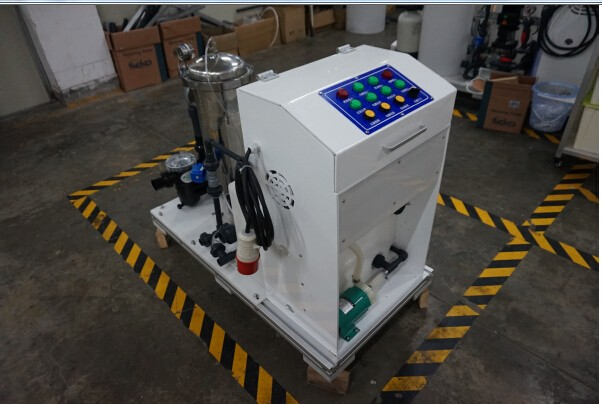 Swimming pool water disinfection machine by electrochlorinator